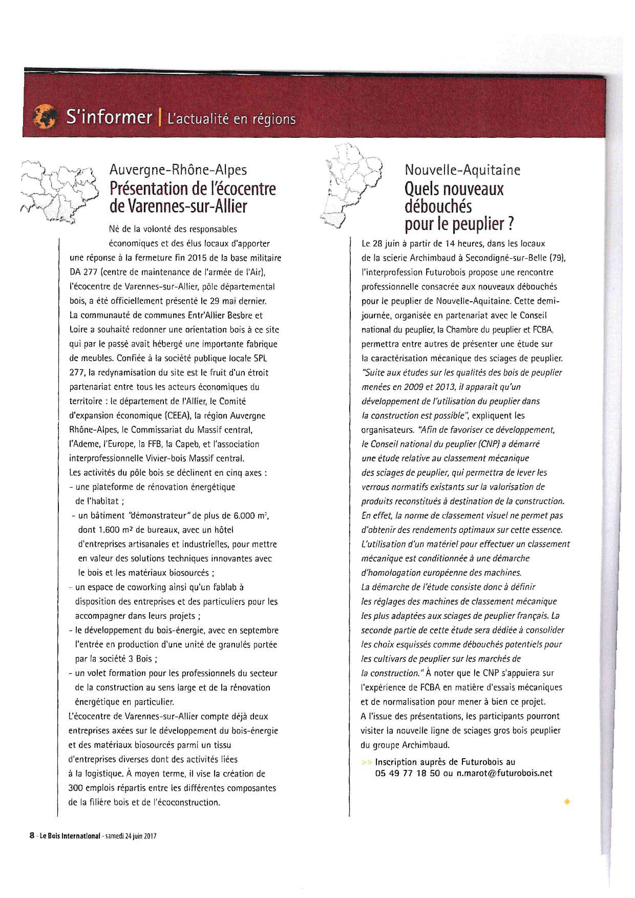 Article paru dans Le Bois International-samedi 24 juin 2017