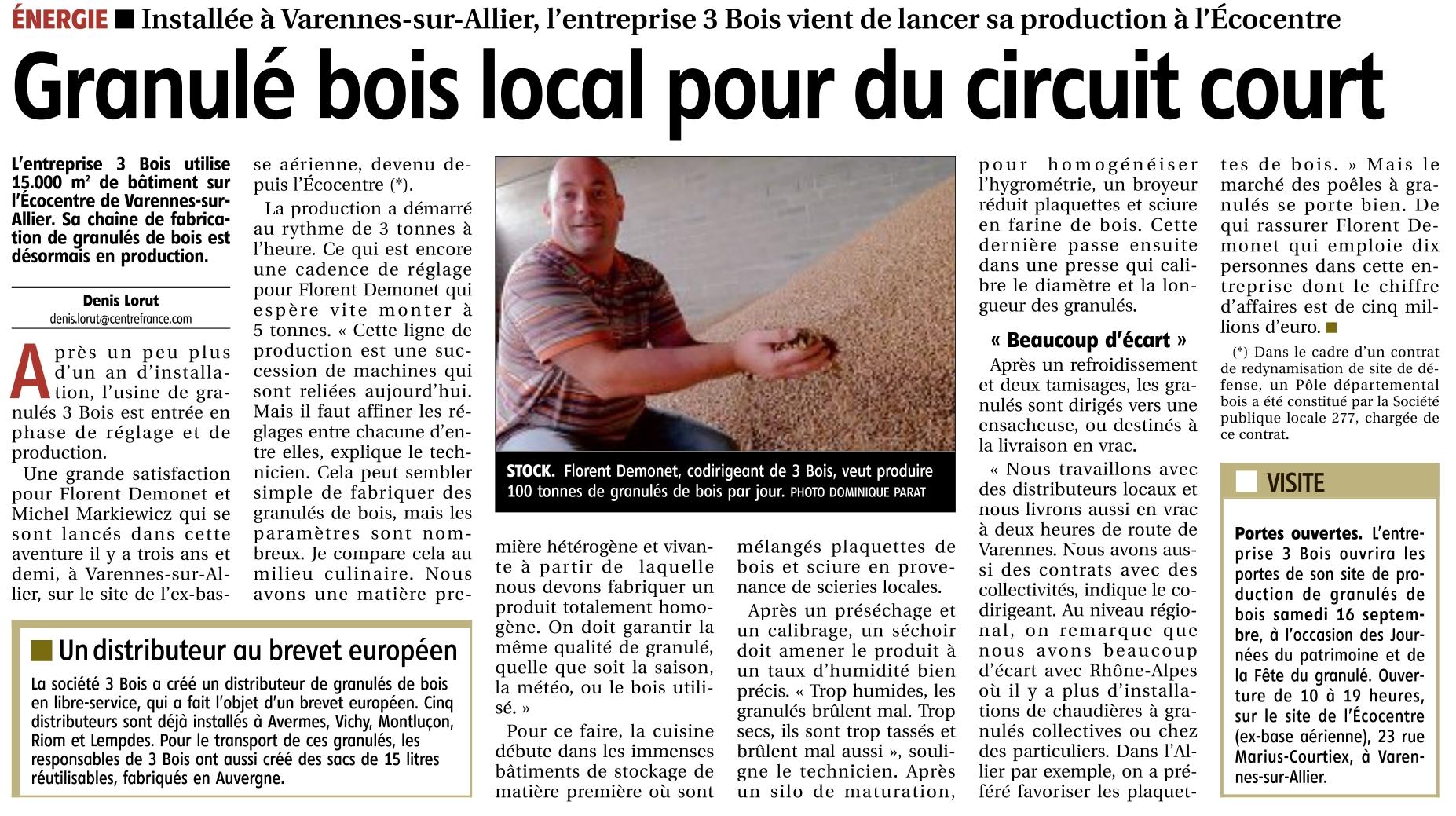 L'Entreprise 3 Bois vient de lancer sa production de granulés