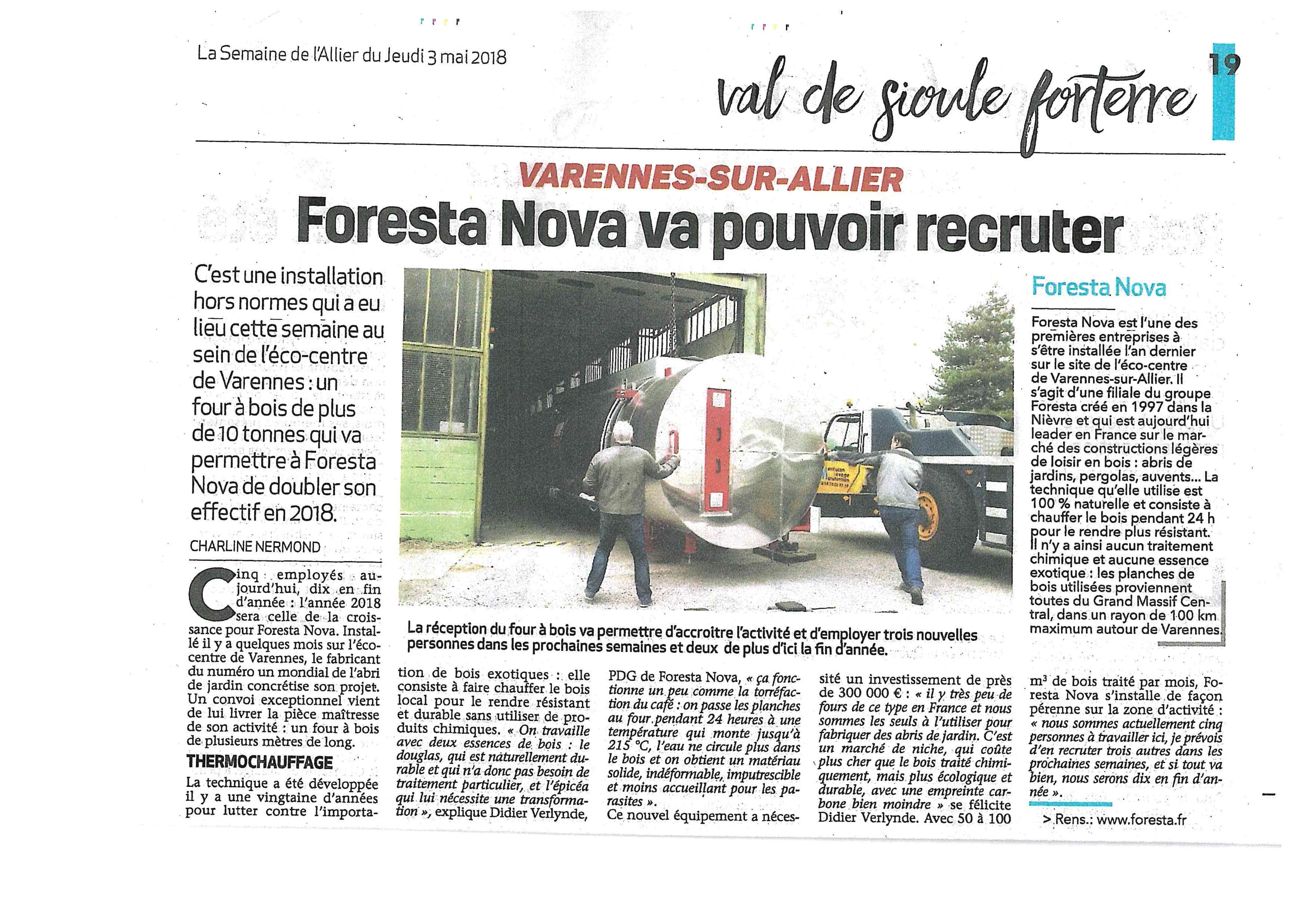 FORESTA NOVA : réception du four à bois