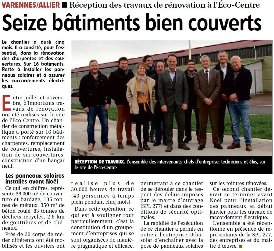 EcoCentre – Réception des travaux de rénovation – La Montagne du 11 décembre 2018