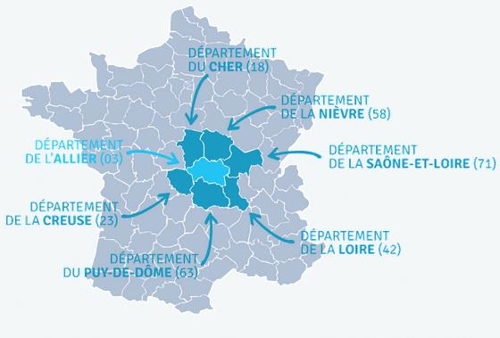 La carte de la France avec les territoire limitrophe de l'Allier. Désignation des départements pouvant participer au financement participatif des deux porteurs de projet Urbasolar et Baywa r.e